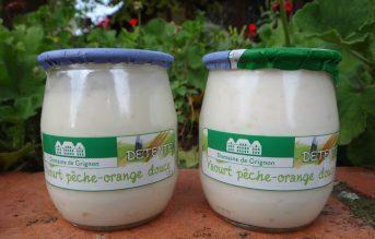 Yaourt pêche et huile essentielle d'orange douce