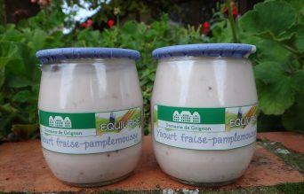 Yaourt fraise et huile essentielle de pamplemousse
